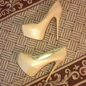 Size 9 Natural Nude Sky High Platform Heels